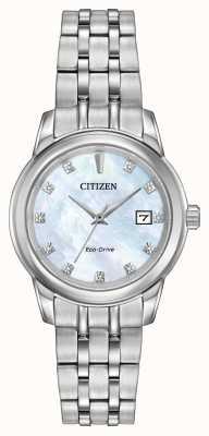 Citizen 11 para mujer del diamante de acero inoxidable pulsera de nácar EW2390-50D