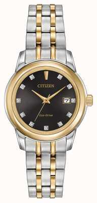 Citizen 11 para mujer del diamante de acero inoxidable de dos tonos EW2394-59E