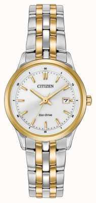 Citizen Para mujer esfera blanca pulsera de acero inoxidable de dos tonos EW2404-57A