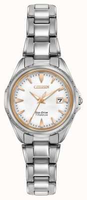 Citizen Para mujer pulsera de titanio de línea blanca EW2410-54A