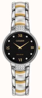 Citizen 24 para mujer del diamante dos tonos esfera de color negro pulsera EX1464-54E