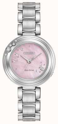 Citizen Mujeres de conducción ecológica seis diamantes wr50 esfera de color rosa EM0460-50N