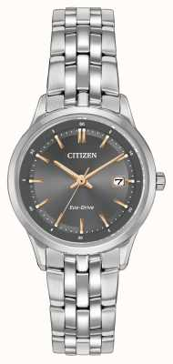 Citizen Las señoras reloj de acero inoxidable con cristal de zafiro EW2400-58H