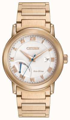 Citizen oro para hombre Eco-Drive plateado brazalete de reserva de marcha AW7023-52A