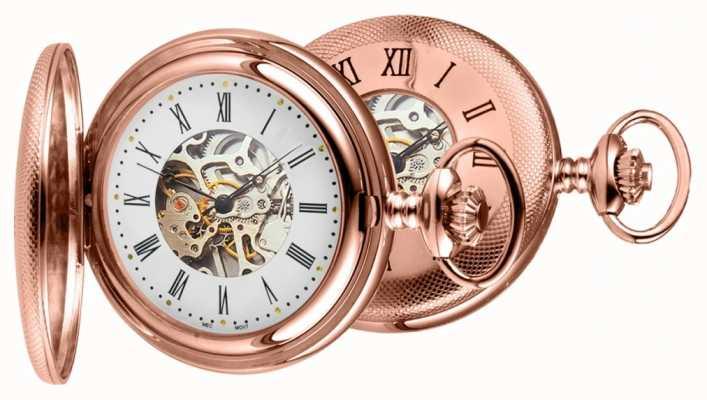 Woodford Mens aumentaron reloj análogo mecánico de cuerda manual PVD chapado en oro 1092