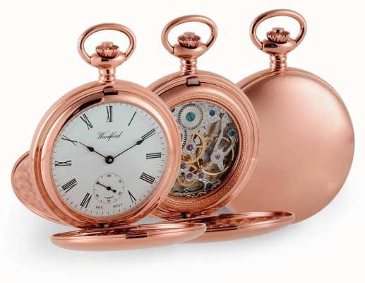 Woodford Hunter Rose del doble de reloj de bolsillo mecánico de oro 1093