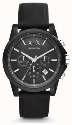 Armani Exchange Correa negra de silicona para hombre con cronógrafo negro AX1326