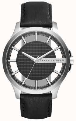 Armani Exchange Mens caja de plata esfera de color negro correa de cuero negro AX2186
