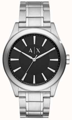 Armani Exchange Mens esfera de color negro correa de metal de plata de acero inoxidable AX2320