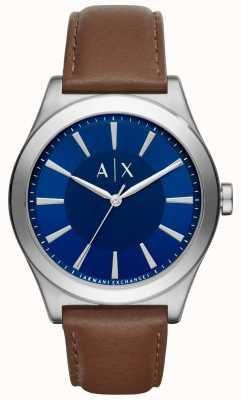 Armani Exchange Mens caja de acero inoxidable de línea azul correa de cuero marrón AX2324