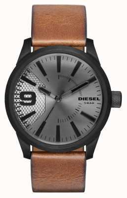 Diesel Plata para hombre de la correa de cuero marrón de marcado estuche negro DZ1764