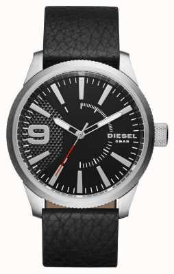 Diesel Mens caja de plata esfera de color negro correa de cuero negro DZ1766