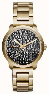 Diesel Womans chapado en oro de línea correa de acero inoxidable con dibujos DZ5521