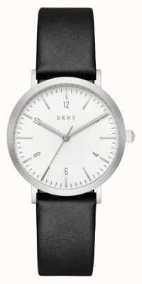 DKNY Womans correa de cuero negro ronda de línea blanca NY2506