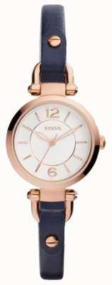 Fossil Womans correa de cuero azul delgado chapado en oro rosa ES4026
