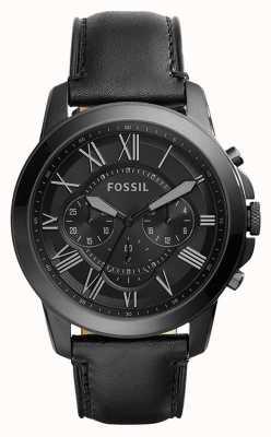 Fossil Correa de cuero negro para hombre con cronógrafo negro FS5132