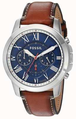 Fossil Mens caja de acero inoxidable de línea azul correa de cuero marrón FS5210
