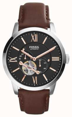 Fossil Para hombre del cronógrafo del dial negro correa de piel marrón ME3061