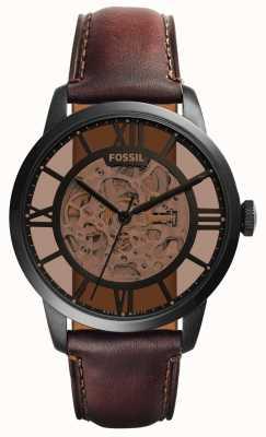 Fossil correa de cuero marrón oscuro para hombre de esfera redonda de color marrón ME3098