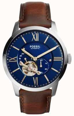Fossil Mens dial redondo azul correa de cuero marrón automático ME3110