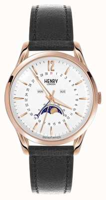 Henry London Richmond caja de oro rosa correa de cuero negro HL39-LS-0150