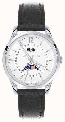 Henry London correa de cuero negro Edgware caja de acero inoxidable HL39-LS-0083