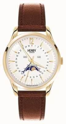 Henry London Estuche de oro Westminster correa de cuero marrón HL39-LS-0148
