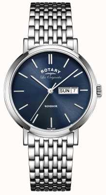 Rotary Mens les originales de acero inoxidable Windsor GB90153/05
