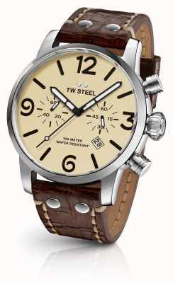 TW Steel Para hombre de línea de crema correa de cuero marrón cronógrafo Maverick MS23