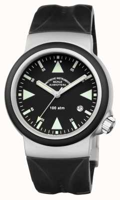 Muhle Glashutte Sar rescate-timer indio goma banda negro dial M1-41-03-KB