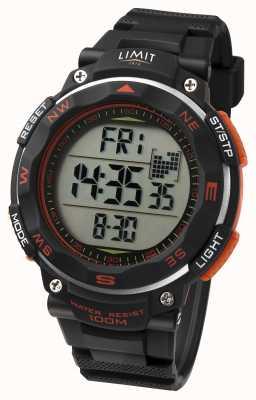 Limit Reloj deportivo para hombre correa negra detalle naranja 5485.66