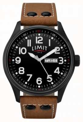 Limit Mens correa de cuero marrón negro dial 5492.01