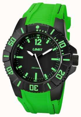 Limit Mens esfera de color negro correa verde activa 5548.02