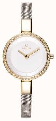 Obaku Mujer | caja de oro | correa de malla de acero inoxidable | esfera blanca V129LEGIMC