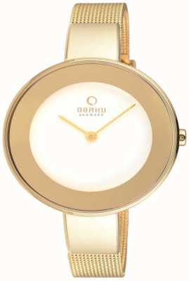 Obaku Womans caja de oro de oro esfera blanca correa de malla V167LXGIMG