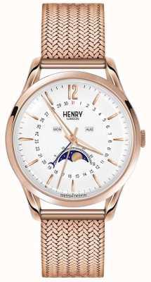 Henry London El oro color de rosa de la luna de los hombres pvd plateó HL39-LM-0162