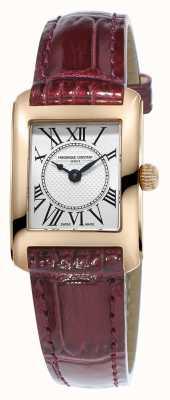 Frederique Constant Para mujer reloj de plata de la correa de cuero marrón carree FC-200MC14