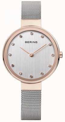 Bering Para mujer de malla de acero inoxidable correa de reloj de plata 12034-064