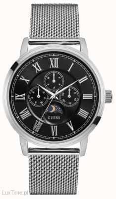 Guess cronógrafo del dial negro correa de malla de plata delancy para hombre W0871G1