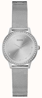 Guess Womens chelsea correa de malla de plata ronda de plata dial piedra conjunto W0647L6