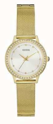 Guess Womens chelsea oro malla de correa de color blanco marcado piedra conjunto W0647L7