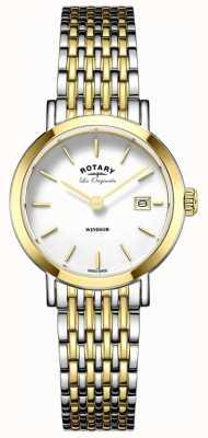 Rotary Womans Windsor en dos tonos de oro correa de metal de plata LB90154/01