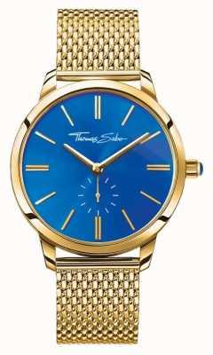Thomas Sabo Womans espíritu glam de acero inoxidable correa de malla de oro esfera azul WA0274-264-209-33