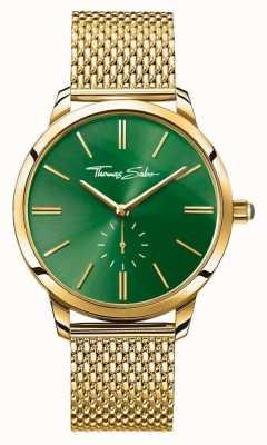 Thomas Sabo Womans acero espíritu glamour de línea verde correa de malla de oro WA0275-264-211-33