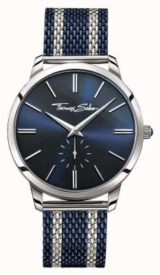 Thomas Sabo Para hombre de espíritu rebelde de dos tonos esfera azul correa de malla de acero WA0268-281-209-42