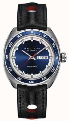 Hamilton Mens pan europ correa de cuero negro esfera azul H35405741