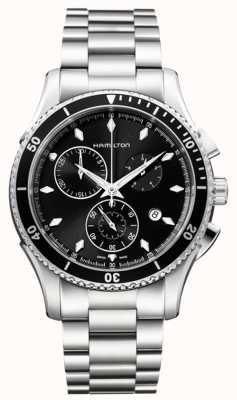 Hamilton cronógrafo del dial negro para hombre jazzmaster vistas al mar H37512131