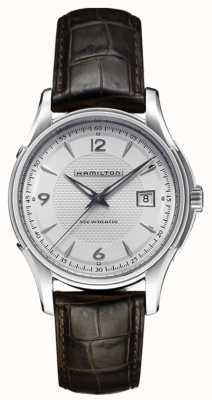 Hamilton jazzmaster para hombre de plata viewmatic correa de cuero de línea H32515555