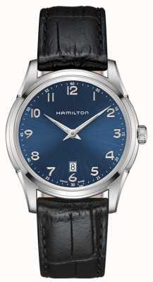 Hamilton correa de cuero negro esfera azul para hombre jazzmaster thinline H38511743