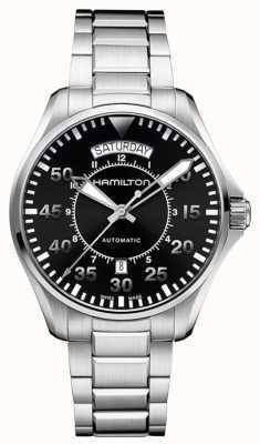 Hamilton correa de acero inoxidable esfera de color negro para hombre del piloto de color caqui H64615135